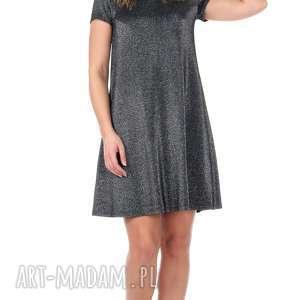 sukienki rozkloszowana srebrna sukienka z krótkim