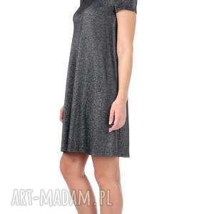 hand made sukienki rozkloszowana srebrna sukienka z krótkim