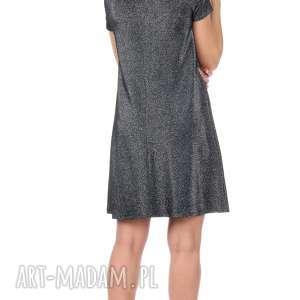 rozkloszowana sukienki srebrna sukienka z krótkim