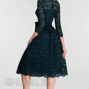 Sukienka AIDA Midi Simona (podkład granatowy) - butelkowa zieleń
