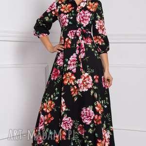 różowe sukienki sukienka w-kwiaty alana -góra z kołnierzykiem zapinana
