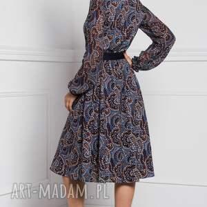 brązowe sukienki sukienka na jesień amber -dekolt półgłęboki, w kształcie