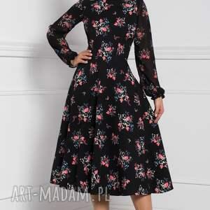 czarne sukienki sukienka na jesień aniela -dekolt płytki, łódka, długi