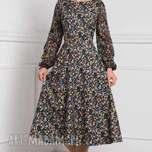 czarne rozkloszowana sukienka aniela total midi brigitte