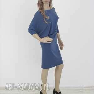 sukienki dzianina 18 - sukienka asymetryczna indygo