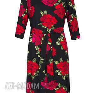 sukienki luźna sukienka asymetryczna w róże