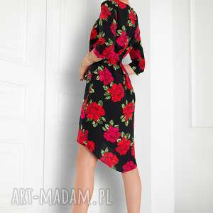 modne sukienki sukienka asymetryczna w róże