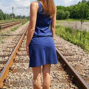 sukienki granatowa sukienka bawełniana loose dress