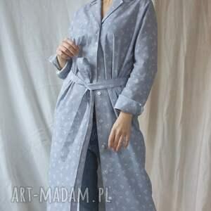 koszula sukienki sukienka typu kimono z szarej bawełny