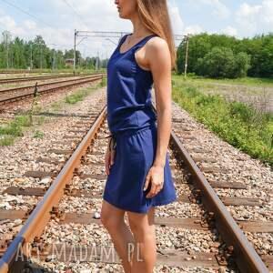 granatowa sukienka sukienki bawełniana loose dress