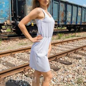 jasny szary melanż sukienki sukienka bawełniana free up dress