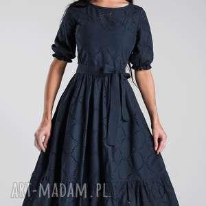szare sukienki sukienka midi bogna haft angielski