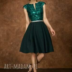 sukienki cekiny sukienka bg-cek zieleń butelkowa