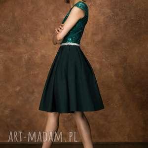 eleganckie sukienki midi sukienka bg-cek zieleń butelkowa
