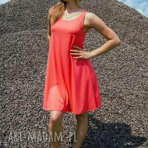 czerwone sukienki zwiewna sukienka coral summer dress