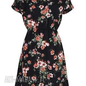 uniwersalna sukienki sukienka czarna w kwiaty