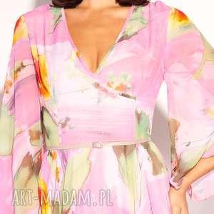 sukienki pastelowa romantyczna sukienka uszyta z szyfonu