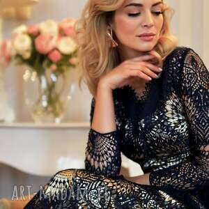 elegancka złote sukienka daria 3/4 midi josefina
