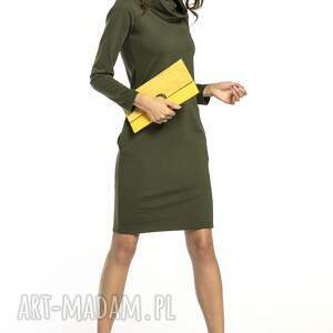 TESSITA unikatowe sukienki sukienka dopasowana z kominem