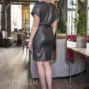 sukienki błysk sukienka dopasowana, suk101 czarny