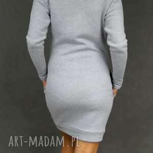 9fcb5a7455 Handmade sukienki - sukienka dresowa dresówka z kominem szara - lil