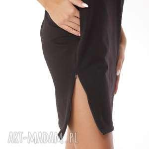 sportowa sukienka dresowa z zamkami czarna