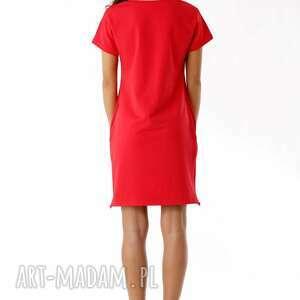 Ella Dora ciekawe sukienki sportowa sukienka dresowa z zamkami czerwona