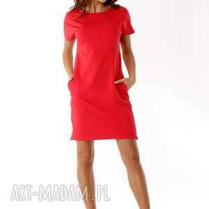 ciekawe sukienki polski producent sukienka dresowa z zamkami czerwona
