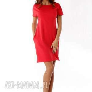 sportowa sukienka dresowa z zamkami czerwona