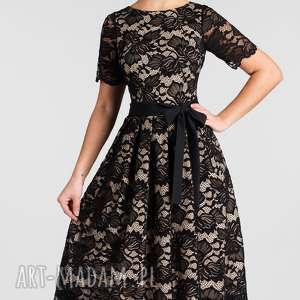beżowe sukienki koronkowa sukienka fiona midi koronka czarna