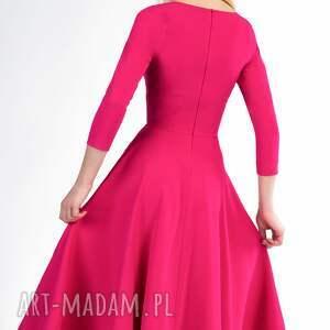 handmade sukienki rozkloszowana sukienka fler total midi amarant