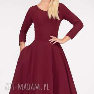 kolorowe sukienki kieszenie sukienka fler total midi bordo