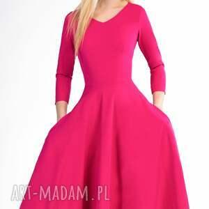 handmade sukienki łydka sukienka fler total midi amarant