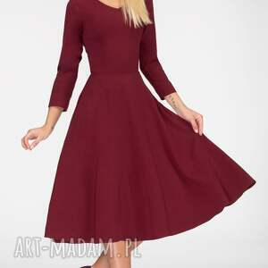 ręcznie wykonane sukienki midi sukienka fler total bordo