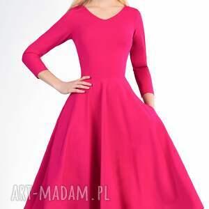 różowe sukienki łydka sukienka fler total midi amarant