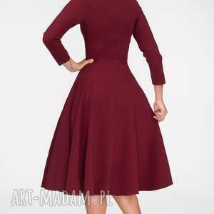 midi sukienki czerwone sukienka fler total bordo