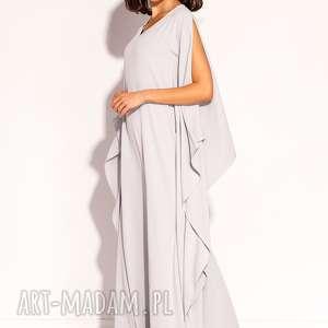 sukienki jasnoszara sukienka uszyta z pięknej lejącej i ciężkiej