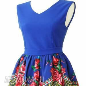 niebieskie sukienki sukienka góralska folkowa z tiulem