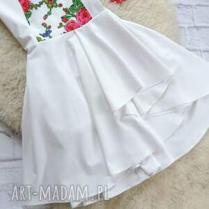 białe sukienki sukienka góralskie kwiaty folk