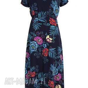 wiskoza sukienki sukienka granatowa w kwiaty maxi