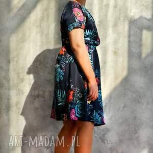 ręcznie zrobione sukienki wiskoza sukienka granatowa w kwiaty maxi