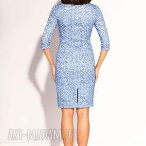 sukienki ołówkowa sukienka uszyta z delikatnej koronki w kolorze