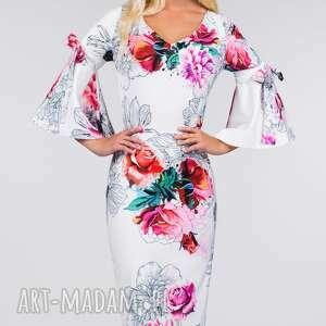 kolorowe sukienki rękawki sukienka ina midi delicja