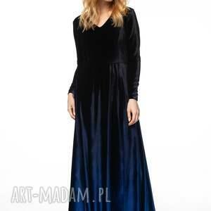 sukienki długa sukienka uszyta z cieniowanego weluru. tkaniny