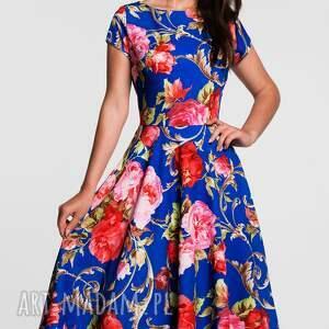czerwone kwiaty sukienka klara total midi caroline