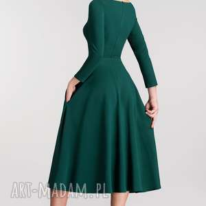 zielone sukienki do łydki sukienka klara 3/4 total midi