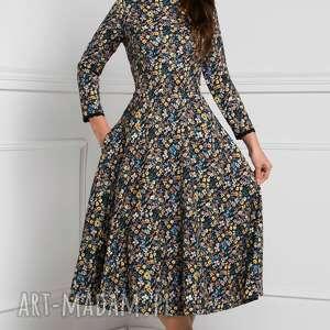czarne sukienki sukienka rozkloszowana klara 3/4 total midi