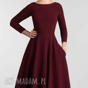 czerwone sukienki sukienka klara 3/4 total midi