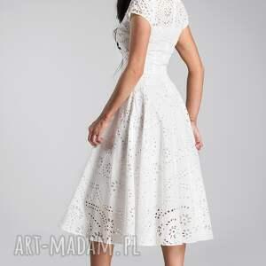 sukienka klara total midi haft richelieu biel - biała