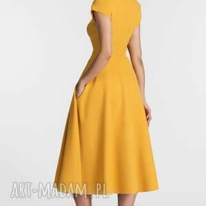 pomarańczowe sukienki sukienka klara total midi miodowy